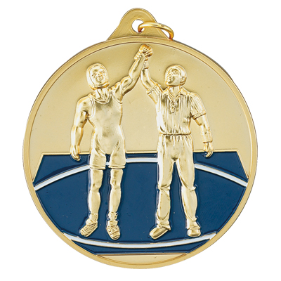 2-1/2 Inch High Relief Enameled Wrestler and Referee Medal