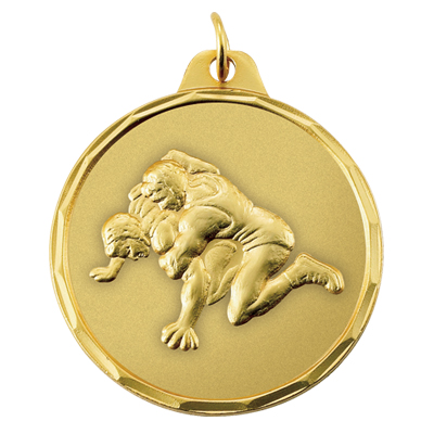 1-1/2 Inch Scalloped Border Wrestling Match Medal