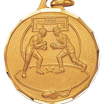 1-1/4 Inch Diamond Cut Border Wrestlers Match Medal
