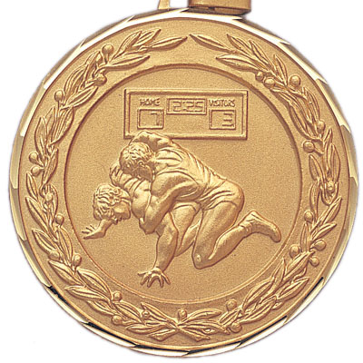 2 Inch Diamond Cut and Wreath Border Wrestling Match Medal
