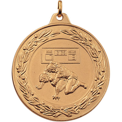 2 Inch Scalloped and Wreath Border Wrestling Match Medal