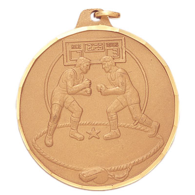 2 Inch Diamond Cut Border Male Wrestlers in Standing Position Medal