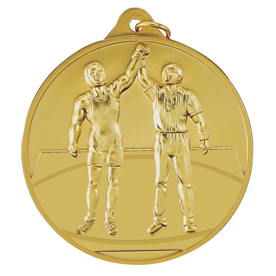 1-1/2 Inch Scalloped Border Winning Wrestler Medal