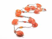 Long Sterling Silver Chain Linked Carnelian Necklace