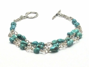 Sterling Silver and Turquoise Pebble Bracelet