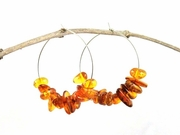 Sterling Silver Hoop Earrings with Amber