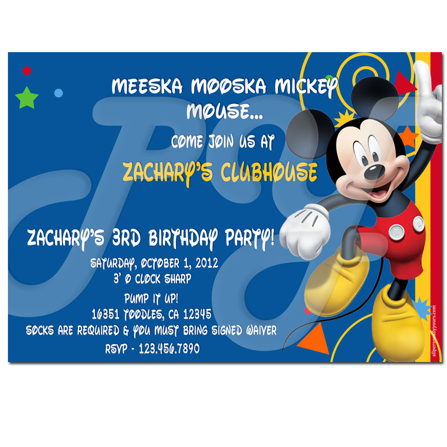 Mickey Mouse Clubhouse Birthday Invitations Personalized can inspire you to create best invitation template