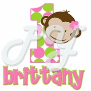 Pink Mod Monkey personalized birthday t shirt