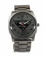 Superman Gray Logo Watch with Gun Metal Bracelet Band (SUP8024)