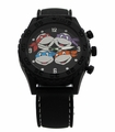 Teenage Mutant Ninja Turtles Heads Black Rubber Strap Watch (TMN9086)