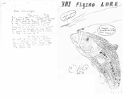Jerry from CA catches bass, sends drawing.