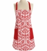 Chefs Apron - Red Damask