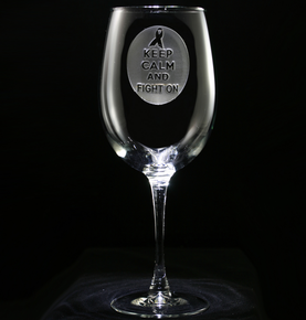 Breast Cancer Ribbon Engraved Wine Glass
