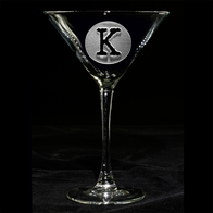 Circle Monogram Engraved Cocktail Glass