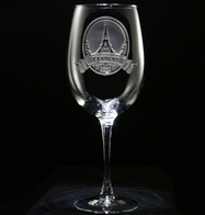 Eiffel Tower Engraved Wine Glass