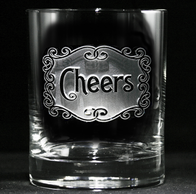 Engraved Cheers Whiskey Scotch Bourbon Glasses