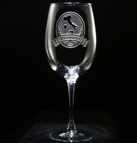 Engraved Italian Wine Glass