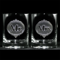 Engraved Mr. and Mrs. Whiskey Glasses