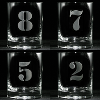 Engraved Numbered 1 thru 8 Whiskey Glass Set