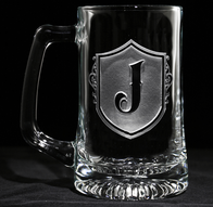 Engraved Shield Monogram Beer Mug