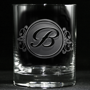 Engraved Whiskey Scotch Glasses with Monogram Initial