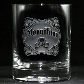 Etched Moonshine Whiskey Glass