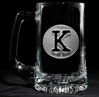 Initial Circle Engraved Beer Mug