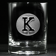 Initial Circle Engraved Whiskey Scotch Glass