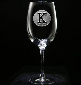 Initial Circle Engraved Wine Glass