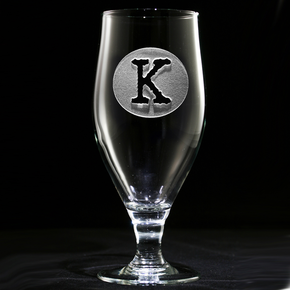 Initial in Circle Engraved Goblet