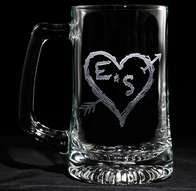 Initials in Heart Engraved Beer Mugs