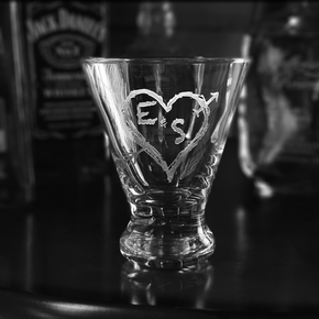 Initials in Heart Engraved Martini Cocktail Glass