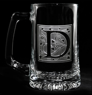 Monogram Engraved Letter on Beer Glass Mug