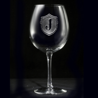 Monogram Shield Red Wine Glass