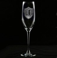 Monogram Shield with Letter Engraved Champagne Glass Flute