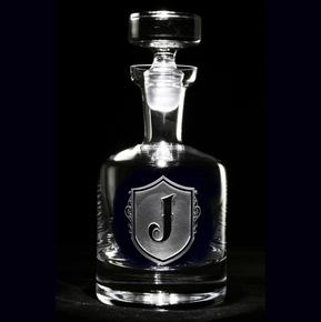 Monogram Shield with Letter Engraved Whiskey Scotch Decanters