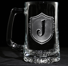 Monogramed Shield with Letter Engraved Beer Glass Mugs