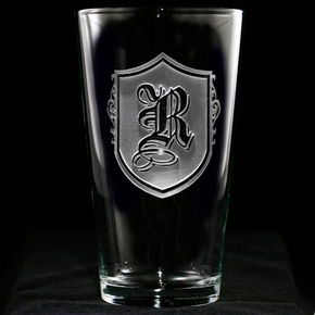 Monogrammed with Letter Engraved Pub Pilsner Glass