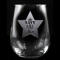 Navy Mom Stemless Wine Glass
