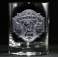 Personalized Bar Pub Sign Whiskey Scotch Glass, Barware