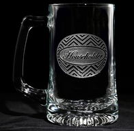 Personalized Chevron Zig Zag Pattern Engraved Beer Glass Mugs