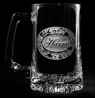 Personalized Floral Name Engraved Beer Mugs Glasses