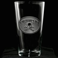 Personalized Pub Pint Water Glass with Skull and Bones
