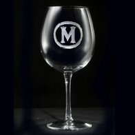 Rustic Monogram Red Wine Glass