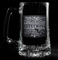 Street Maps Etched Beer Mug