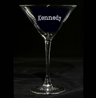 Typewriter Font Engraved Martini Cocktail Glass