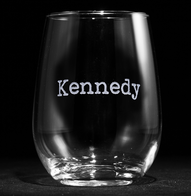 Typewriter Font Name Engraved Stemless Wine