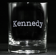Typewriter Font Name Engraved Whiskey Glass