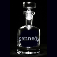 Typewriter Font Personalized Whiskey Scotch Decanter