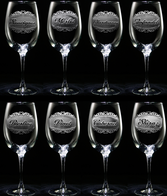 Wine Bottle Label Glass Set of 8